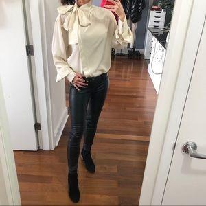 Mulberry Runway silk asymmetric creme blouse top